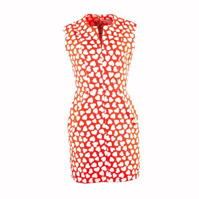 heart printed midi dress scarlet